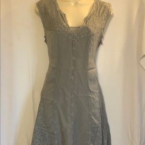 Johnny Was Dress Sage High Low Eyelet Boho Casual